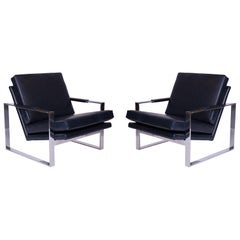 Milo Baughman Thayer Coggin Leather Lounge Chairs
