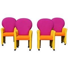 Milo Baughman Thayer Coggin Memphis Prisma Collection Set of Four Armchairs