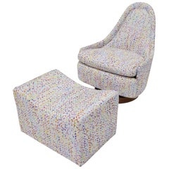 Milo Baughman Thayer Coggin Petite Teardrop Swivel Lounge Chair with Ottoman