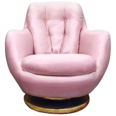 Milo Baughman Thayer Coggin Pink Silk Swivel Tufted Tub Armchair Brass Base