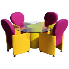 Milo Baughman Thayer Coggin Prisma Memphis Dinette Table and Four Chairs, 1980s