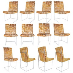 Milo Baughman Thin Frame Chrome Dining Chair in Gold Metallic, by Pairs up to 12