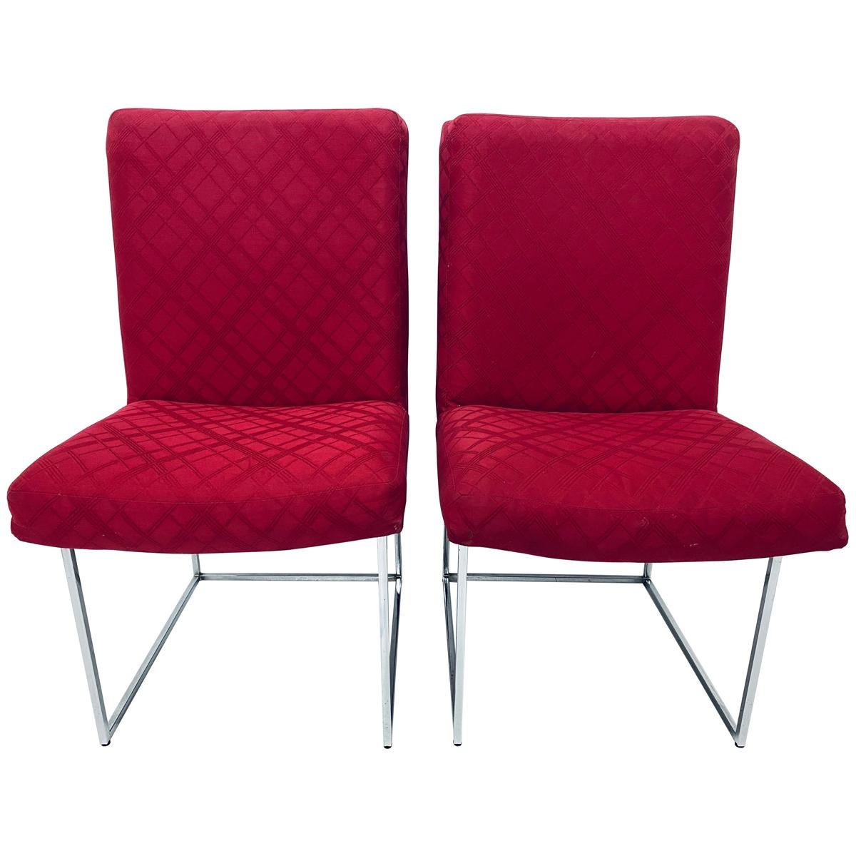 Milo Baughman Thin-Line Chrome Dining Chairs for Thayer Coggin, a Pair
