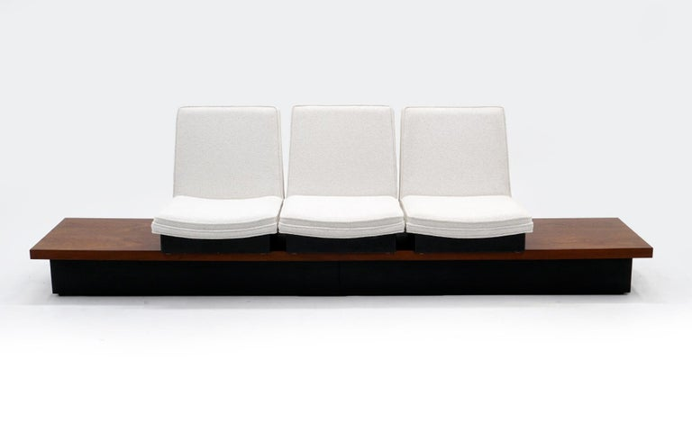 Mid-Century Modern Milo Baughman Three Seat Bench / Sofa, Functions Great, Off White, Signed For Sale