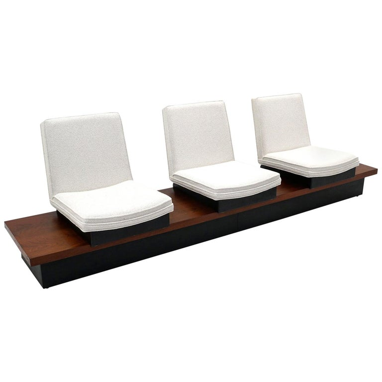 Milo Baughman Three Seat Bench / Sofa, Functions Great, Off White, Signed For Sale