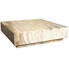 Milo Baughman Travertine Plinth Monolith Stone Cubic Coffee Table 1969