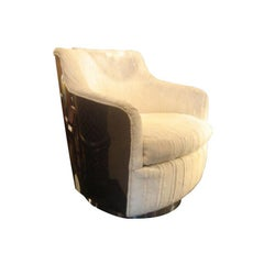 Milo Baughman Tub Swivel Armchair with Chrome Back in COM