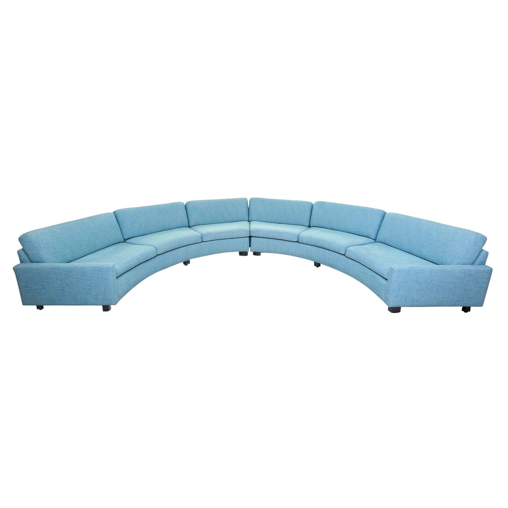 Milo Baughman Turquoise Aqua Semi Circular Sectional Sofa for Thayer Coggin