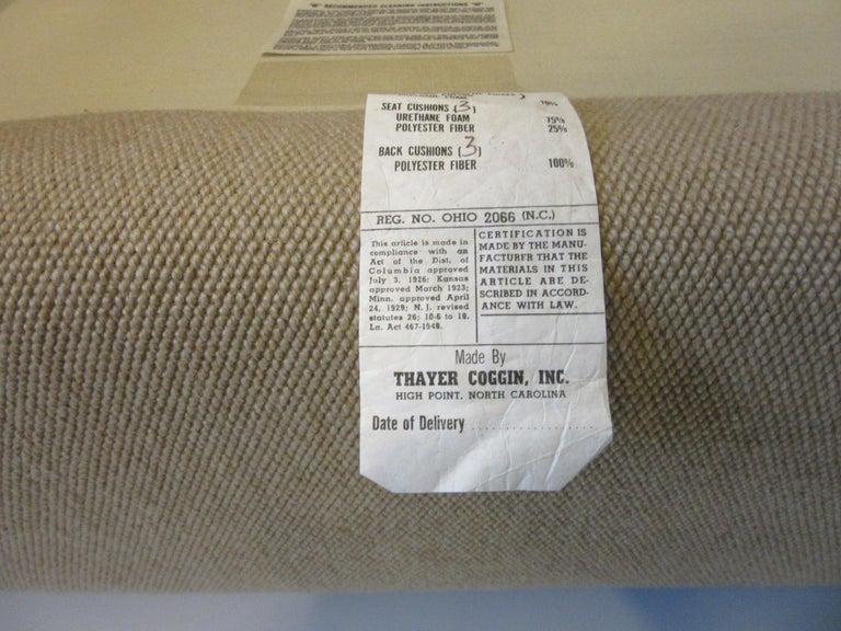Milo Baughman Tuxedo Styled Sofa for Thayer Coggin For Sale 1