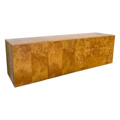 Milo Baughman Two-Piece Burl Floating Credenza