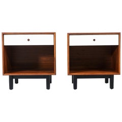 Milo Baughman Two-Tone Lacquered and Walnut Nightstands for Glenn of California