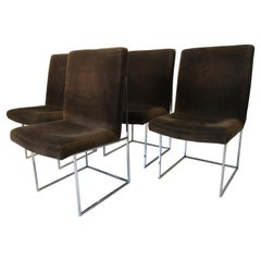 Milo Baughman Upholstered and Chrome Dining Chairs for Thayer Coggin