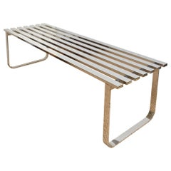 Milo Baughman Vintage 7 Bar Slatted Bench