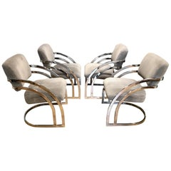 Cal-Style Vintage Curved Chrome Cantilever Dining Chairs, Set of 4