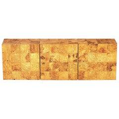 Milo Baughman Wallmount Burl Wood Cabinet
