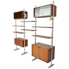 Milo Baughman Walnut and Aluminium Wall Unit by Founders
