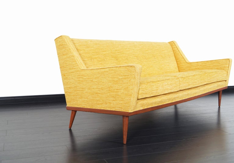 Vintage Walnut Sofa by Milo Baughman for James Inc. In Excellent Condition For Sale In Burbank, CA