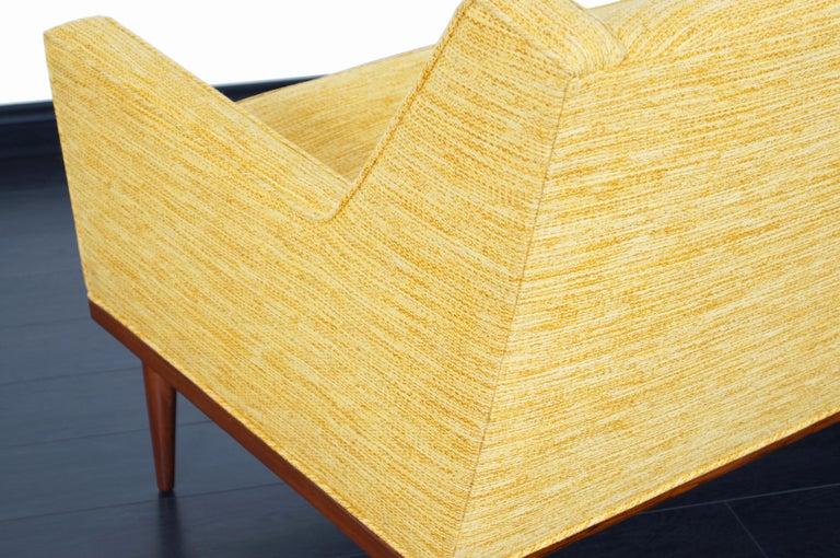 Fabric Vintage Walnut Sofa by Milo Baughman for James Inc. For Sale