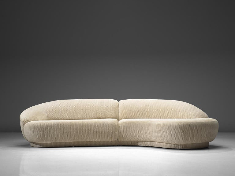 Milo Baughman for Thayer-Coggin, two-piece serpentine sectional curved sofa, United States, 1970s.  This outstanding Milo Baughman two-piece serpentine sectional curved sofa is a wonderful example of Baughman's design skills. With its bulky round