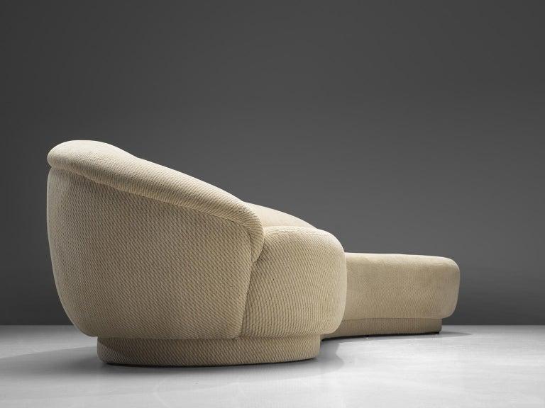 Fabric Milo Baughman White Serpentine Curved Sofa