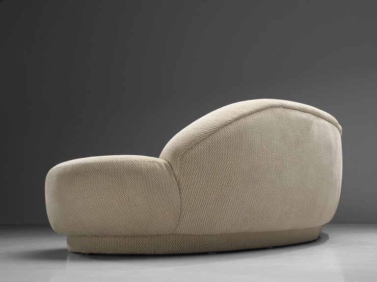 Milo Baughman White Serpentine Curved Sofa 1
