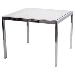 Milo Baughman Wicker and Chrome Game Table