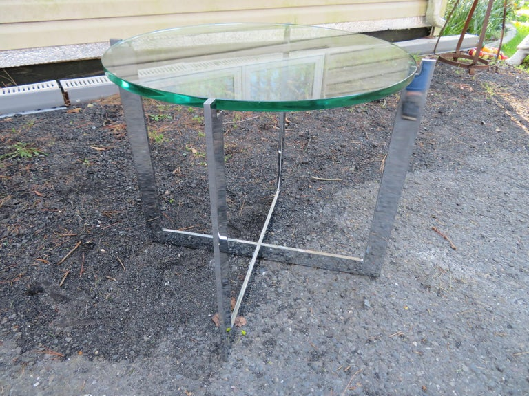 Milo Baughman Style X Base Chrome Side End Table Mid-Century Modern For Sale 6