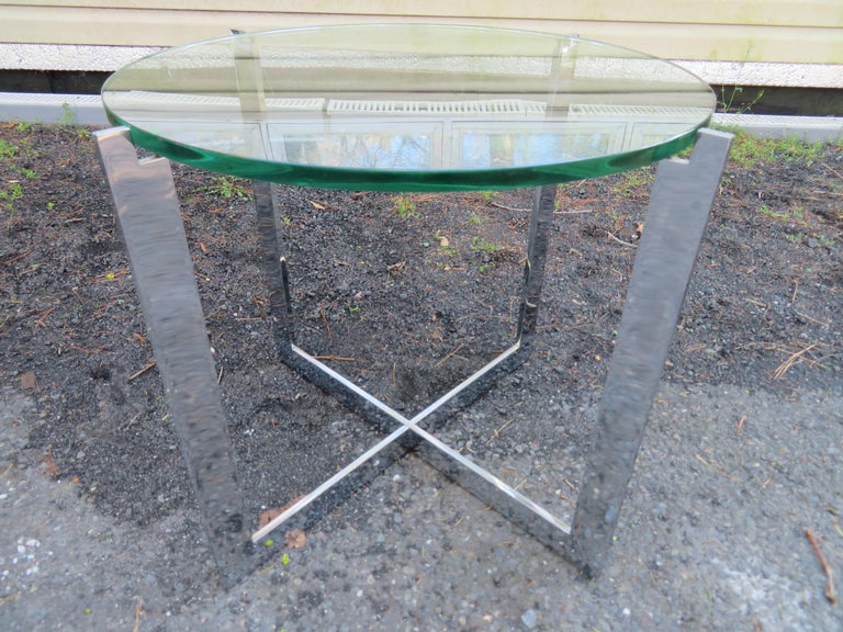 American Milo Baughman Style X Base Chrome Side End Table Mid-Century Modern For Sale