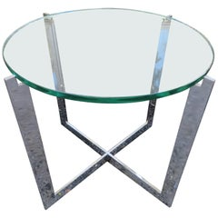 Milo Baughman Style X Base Chrome Side End Table Mid-Century Modern