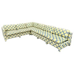 Milo Baughman Yellow & Blue Lattice Three-Piece Sectional, Thayer Coggin, 1970s