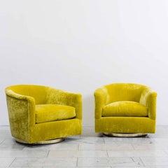 Milo Baughman, Pair of Starfruit Swivel Chairs, USA, 1970s