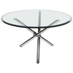 Milo Baugman Style Midcentury Jax Chrome Glass Tripod Dining/Centre Hall Table