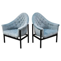 Milo Buaghman for Thayer Coggin Modernist Light Blue Tufted Lounge Chairs, 1960s