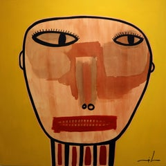 boy original contemporary naif acrylic painting