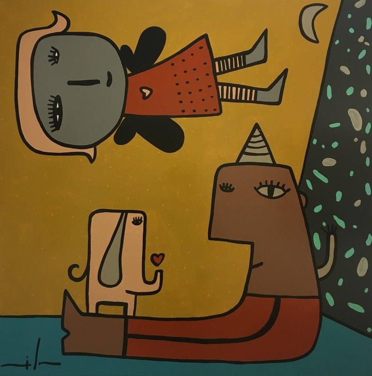 Non title original  contemporary naif acrylic canvas painting - Painting by Milo Lockett