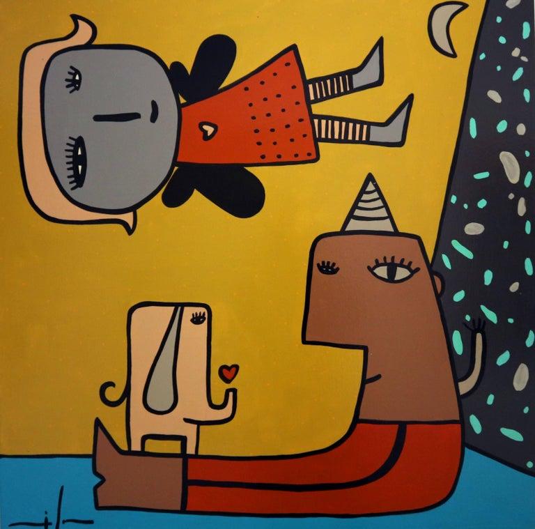 Milo Lockett Interior Painting - Non title original  contemporary naif acrylic canvas painting