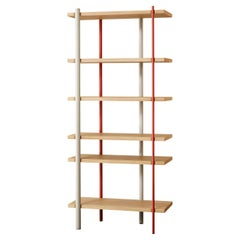 Milonga Bookcase in Lacquered Iron with Flamed Oak Shelves by Paolo Cappello