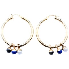 Milros Tri-Tone Interchangeable Hoop Earrings with Charms 14 Karat Tri-Tone Gold