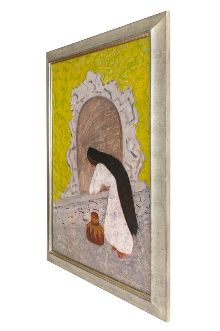 Milton Avery painted Agua in 1946, shortly after returning from a three month trip to Mexico with his family. The result were paintings that focused on a number of subjects ranging from owers to native clothing, to an every day chore such as