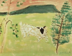 Sheep Resting, American Modernist, Landscape, Mixed Media on Paper, Signed, 1953