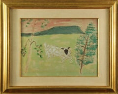 Milton Avery, Unknown (Sheep), Mixed Media, 1953, Signed and Dated