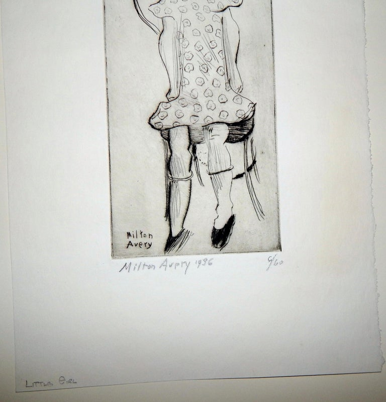 20th Century Milton Avery Original Etching Pencil Signed, 1936, Little Girl For Sale