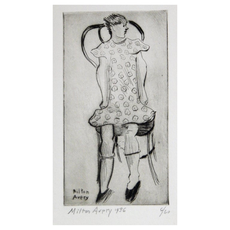 Milton Avery Original Etching Pencil Signed, 1936, Little Girl For Sale