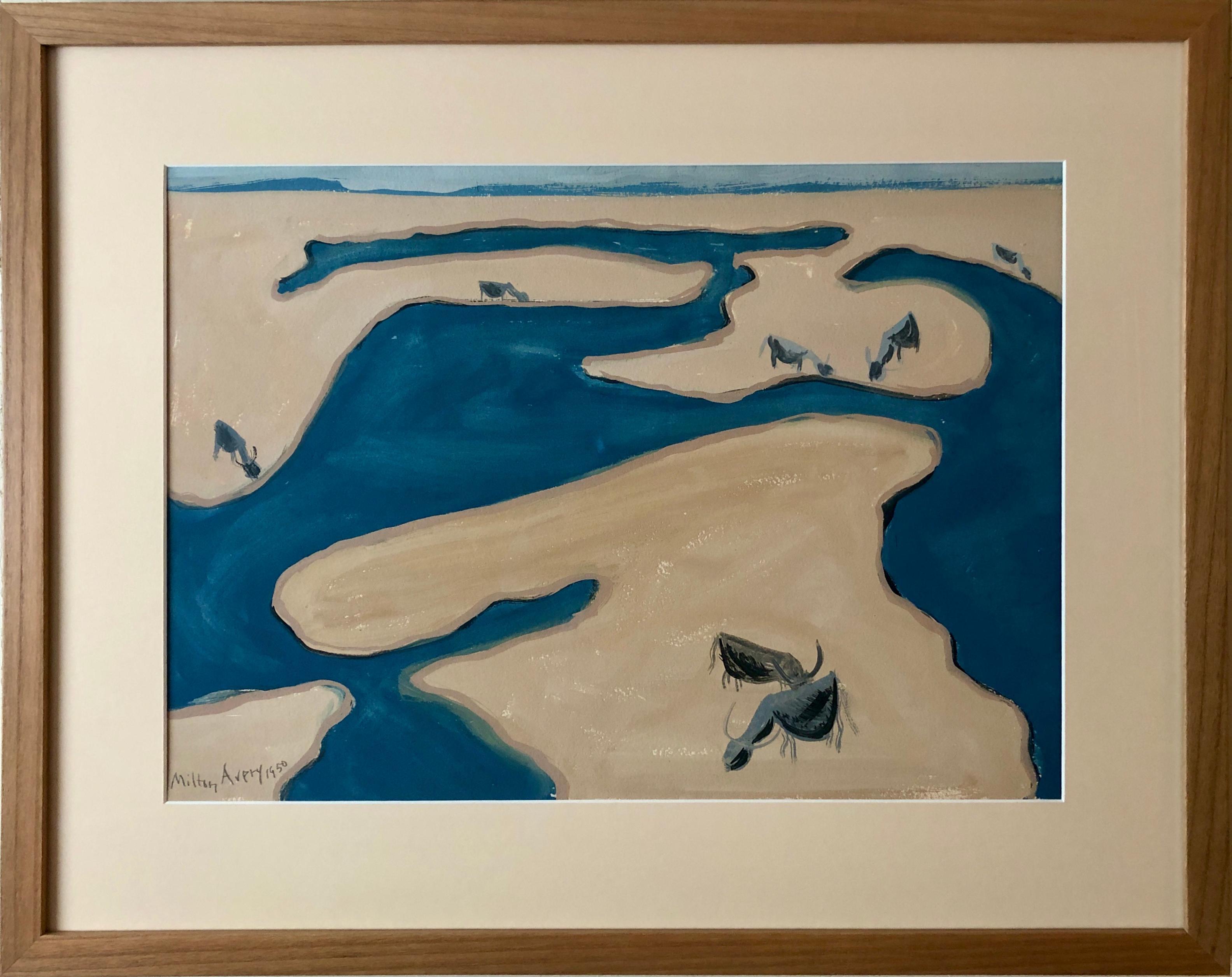 """Grazing Cows"" by Milton Avery, Gouache on paper board,  1950"