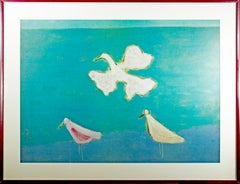 'Flight' offset lithograph poster with birds after painting by Milton Avery