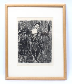Milton Avery wood block black and white rare dancer COA appraisal framed period