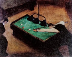 """Pool Players,"" Gilcee Print on Canvas after 1930 Oil on Canvas by Milton Avery"