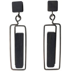 Milton Cavagnaro Ebony Sterling Silver Mid-Century Modernist Earrings