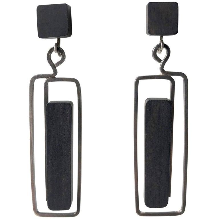 Milton Cavagnaro Ebony Sterling Silver Mid-Century Modernist Earrings For Sale