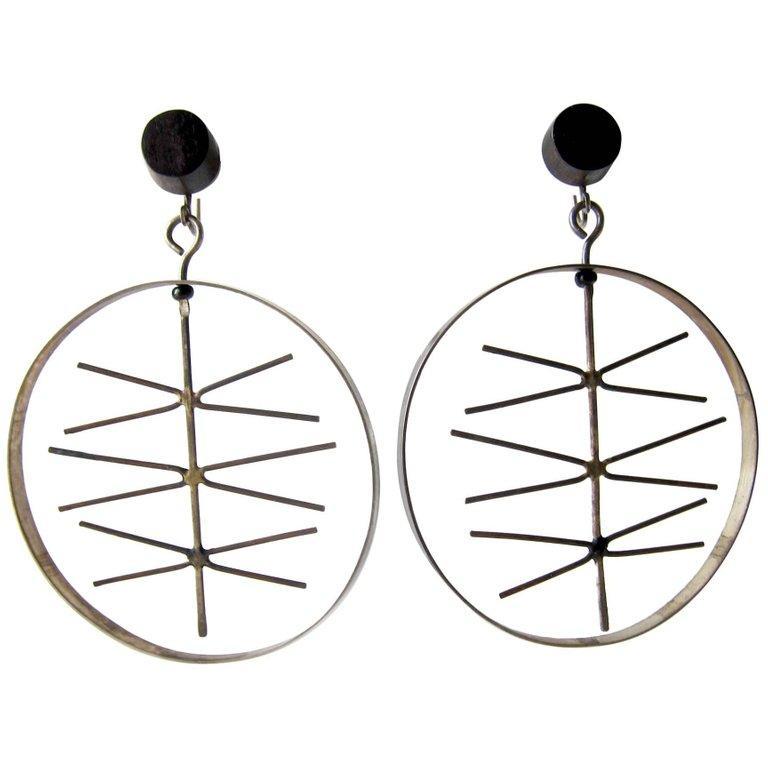 Women's Milton Cavagnaro Sterling Silver Ebony Kinetic California Modernist Earrings For Sale